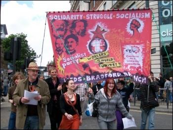 Socialist Party banner on Leeds May Day demo, photo Iain Dalton
