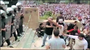 Greek workers attempt to storm parliament, photo BBC website video shot