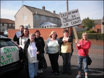 A housing protest on the Seven Stars estate in Wrekenton, Gateshead, photo Elaine Brunskill