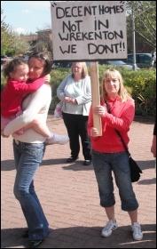 A housing protest on the Seven Stars estate in Wrekenton, Gateshead, photo Elaine Brunskill
