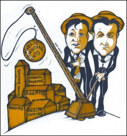 Tory David Cameron and Lib Dem Nick Clegg worked the austerity wrecking ball together, cartoon by Suz