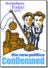 Socialism Today cover June 2010, issue 139, cartoon by Suz