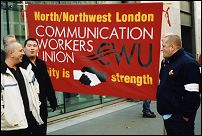 London Postal Workers on the recent one day London weighting strike, photo by Molly Cooper