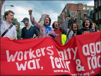 Youth Fight for jobs demonstrate against war, terror and racism, photo Senan