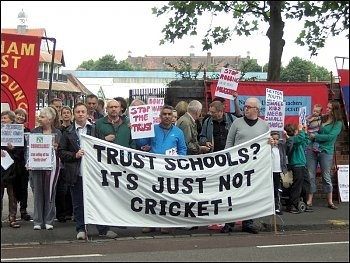 Education: Protest against handing over publicly owned school land and buildings to private trusts and academies in East London, photo Alison Hill