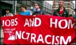 Jobs and Homes Not Racism - Youth Fight For Jobs banner on anti-EDL demonstration in Tower Hamlets, London, photo East London Socialist Party