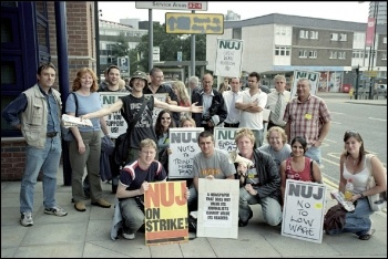 Striking journalists at the Coventry Telegraph, photo by S. O'Neill