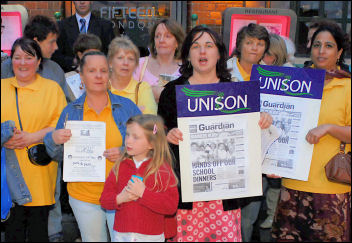 Waltham Forest Unison members outside Jamie Oliver