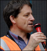 Martin Powell Davies at the Lewisham demonstration against destructive school policies, photo Paul Mattsson