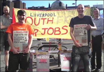Budget Day protests in Liverpool, photo Liverpool Socialist Party