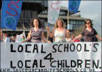 Cardiff parents beat education cuts in 2006, photo Socialist Party Wales
