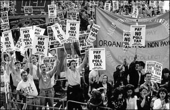Marching against Thatcher's Poll Tax, photo Dave Sinclair