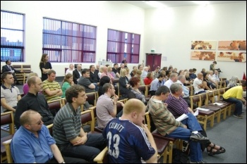 100 community campaigners and trade union activists attended the North Staffs TUC (NSTUC) public meeting , photo by Stoek Socialist Party