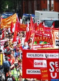 London May Day demonstration 2010, photo Jules Mattsson