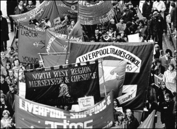 Liverpool city council's struggle in 1983-87 for more funding from the Thatcher government was an inspiration to workers, photo Dave Sinclair