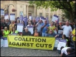 Bolton protest at council meeting against plans to savagely cut 40% off its budget, , photo Hugh Caffrey
