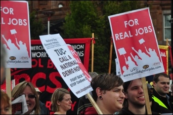 Youth Fight for Jobs on the National Shop Stewards Network (NSSN) lobby of TUC conference in Manchester 2010, photo Suleyman Civi