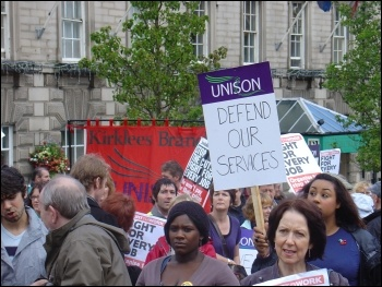 Kirklees Save Our services trade union protest against cuts, photo Huddersfield Socialist Party