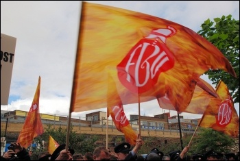 2,500 uniformed firefighters marched with Fire Brigades Union (FBU) flags and placards to protest outside the London Fire Authority (LFA), , photo Suzanne Beishon
