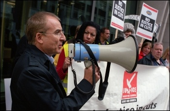Kevin Greenway, President of PCS MoJ group and Socialist Party member, addresses PCS protest outside Ministry of Justice , photo Paul Mattsson