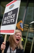 PCS prominent on the recent anti-cuts demonstrations, photo Paul Mattsson
