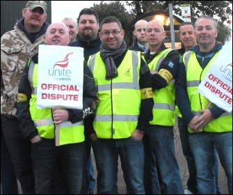 Unite members on strike on the picket line at Tyneside safety Glass, photo Elaine Brunskill