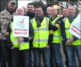 Unite members on strike on the picket line at Tyneside safety Glass, photo Elaine Brunskill