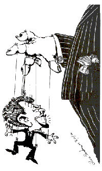 Tony Blair, cartoon by Alan Hardman
