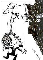 Tony Blair, bosses' puppet. Cartoon by Alan Hardman, photo Alan Hardman