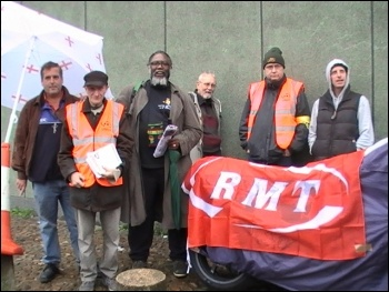 On the RMT picket line at Seven Sisters, photo by Clare Doyle