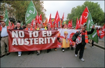 RMT transport union members, including late general secretary Bob Crow (second from left holding banner) march in Brussels, photo Paul Mattsson