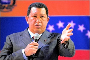 Hugo Chávez, president of Venezuela, on a visit to Britain, photo Paul Mattsson