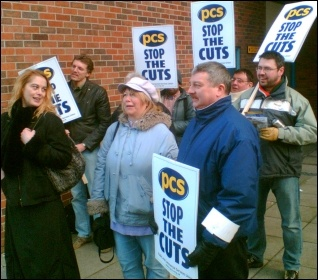 PCS DWP civil servants in Leicester taking strike action, photo Leicester Socialist Party