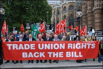 Trade Unionists lobbying parliament - trying to persuade at least 100 MPs to turn up at John McDonnell's Lawful Industrial Action bill's second reading, to prevent the Tories crushing it, photo Suzanne Beishon