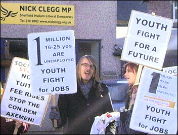 Sheffield Socialist Students protesting outside deputy prime minister Nick Clegg's constituency office on 20 October 2010, photo Sheffield Socialist Students