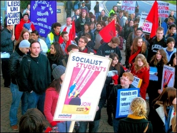 Leeds Socialist Students at a rally at Leeds City Square organised by Leeds Trades council and Leeds Against the Cuts on 20 October, photo Iain Dalton