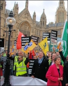Trade Unionists lobbying parliament - trying to persuade at least 100 MPs to turn up at John McDonnell's Lawful Industrial Action bill's second reading, to prevent the Tories crushing it , photo by Suzanne Beishon