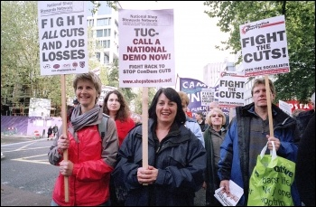 Thousands of trade unionists march in London against cuts, photo Suzanne Beishon
