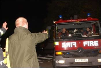FBU general secretary Matt Wrack joins firefighters picketing the scabs employed by AssetCo, photo Suzanne Beishon