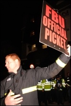 Firefighters on last year's picket against scabs employed by AssetCo. Photo Suzanne Beishon