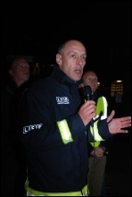 FBU executive council member Ian Leahair addresses firefighters picketing the scabs employed by AssetCo, photo Suzanne Beishon