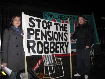 Manchester picket line of BBC NUJ members on strike against attacks on pensions , photo Manchester Socialist Party