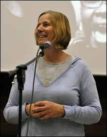 Cindy Sheehan, the leading US anti-war activist, speaking at Socialism 2010, photo Paul Mattsson
