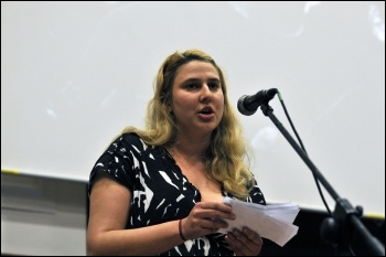 Claire Laker-Mansfield, Socialist Students national organiser, speaking at the Socialism 2010 rally , photo Paul Mattsson