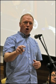 Matt Wrack, Firebrigades Union (FBU) General Secretary, speaking at the Socialism 2010 rally, photo Paul Mattsson