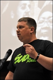 Alex Gordon, Rail, Maritime & Transport Workers Union (RMT) President, speaking at the Socialism 2010 rally, photo Paul Mattsson