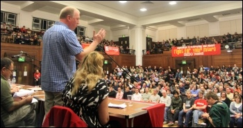 Matt Wrack, Fire Brigades Union (FBU) general secretary, addressing the Socialism 2010 rally, photo T.U.Senan