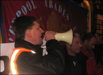 Liverpool lobby of council: Daren Ireland, RMT and President of Liverpool TUC, addressing demo
