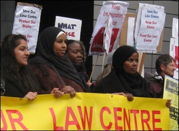 Manchester law centre staff protest against funding cuts, photo Hugh Caffrey