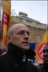 Ian Leahair at firefighters rally and lobby MPs against cuts, photo Suzanne Beishon